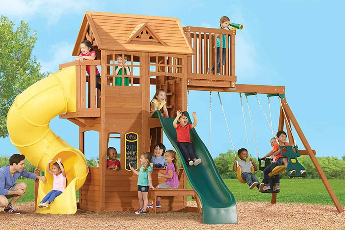 Bayfield Retreat Climbing Frame With Straight Tube And Swings