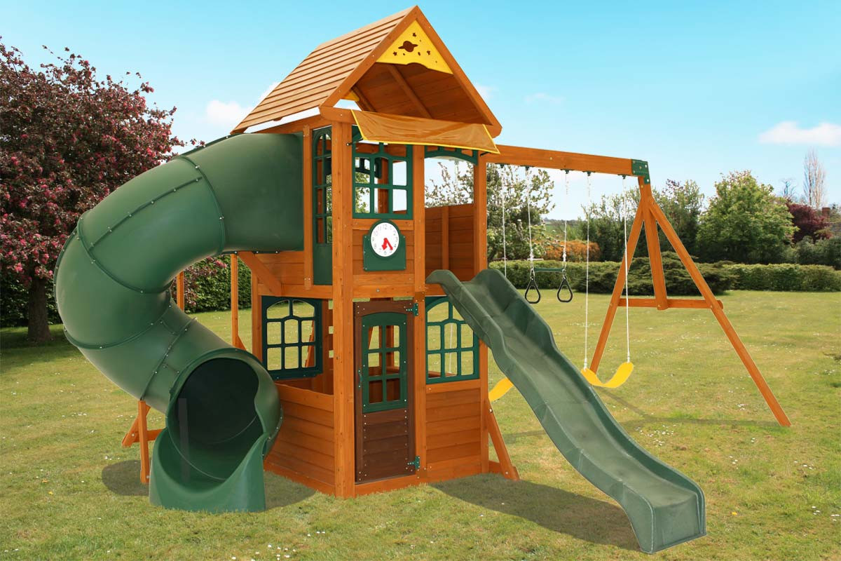 peak climbing frame two slides monkey bars and swing set. Black Bedroom Furniture Sets. Home Design Ideas