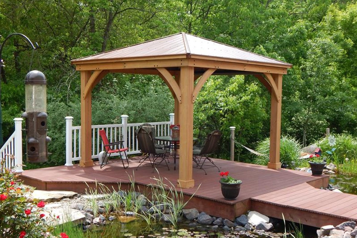 Yardistry pergola costco meridian 12 x 12 wood gazebo for Large wooden gazebos